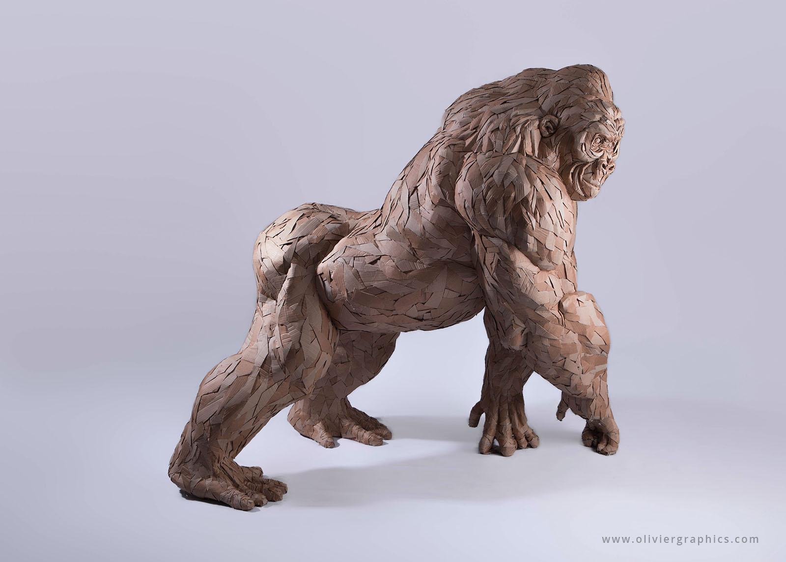 Cardboard gorilla sculpture by Olivier Bertrand. Sculpture de gorille en carton par Olivier Bertrand